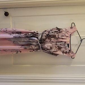 Pink/grey sleeveless dress